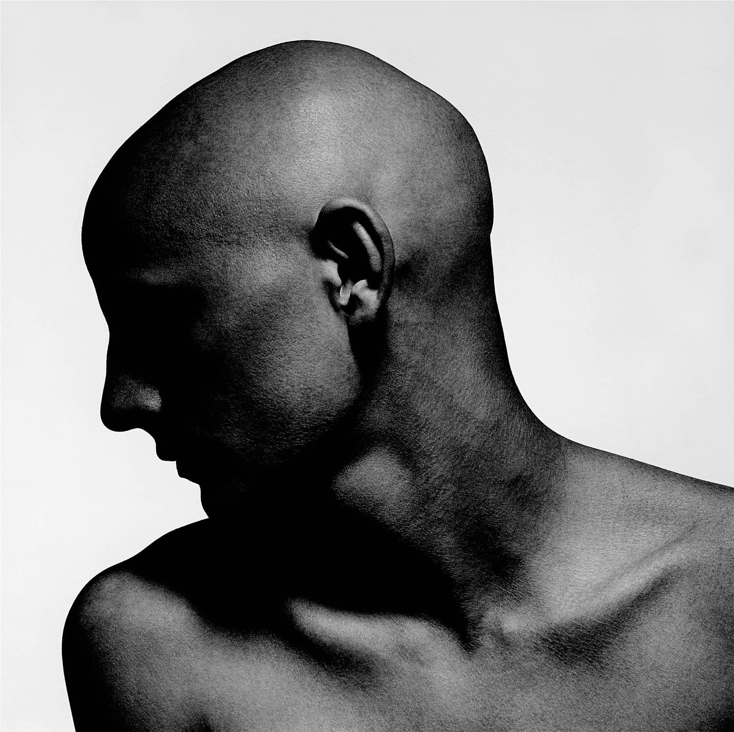 Dark portrait of bald male with strong profile by photographer Kenneth Rimm