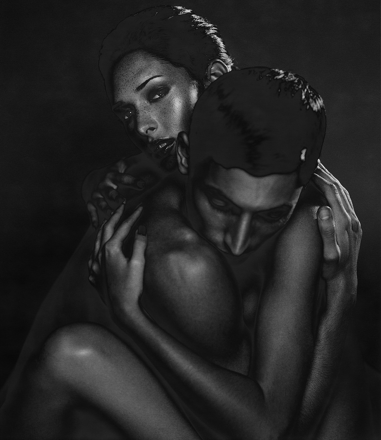 Dark male & female solarized nude 03